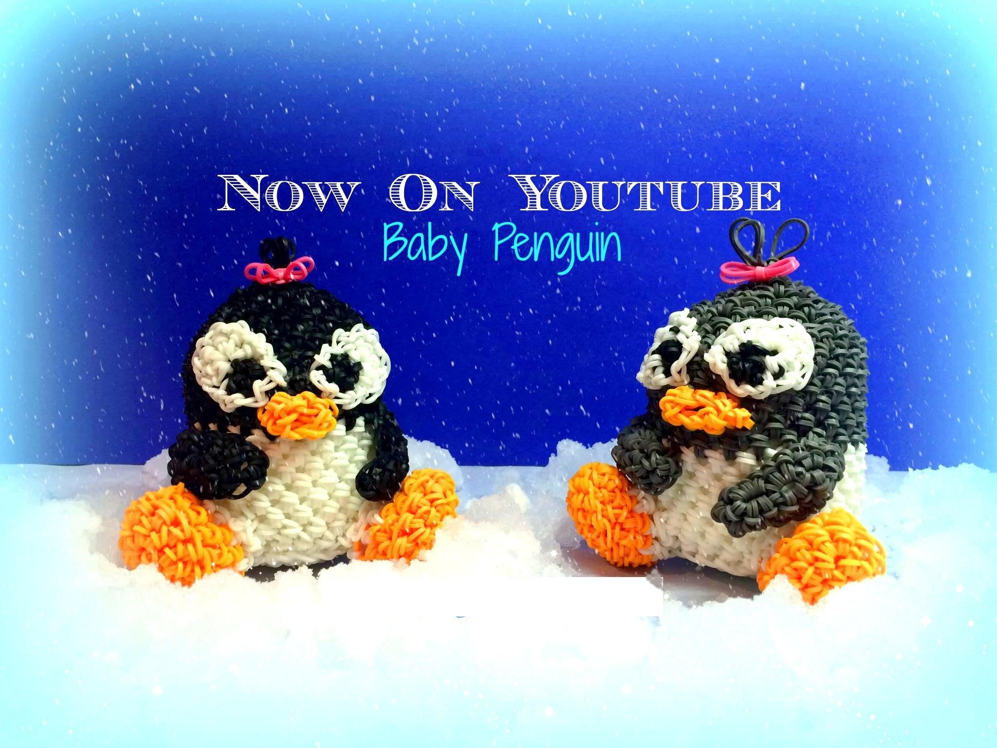 "How to Make DIY (Amigurumi) "" 3D Baby Penguin "" from Rainbow Loom. On the Loom."
