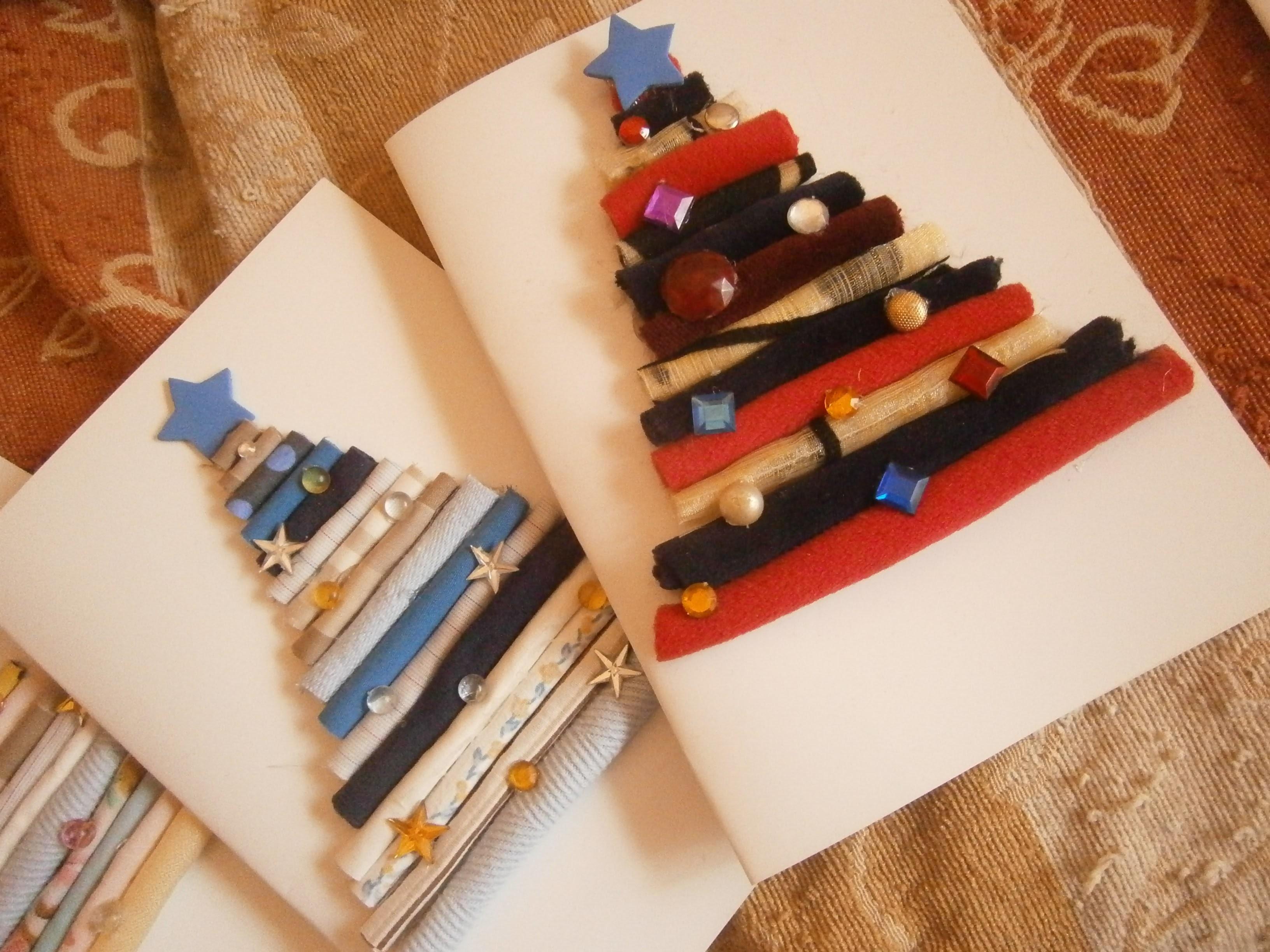 How to make rolled fabric Christmas card - Christmas diy