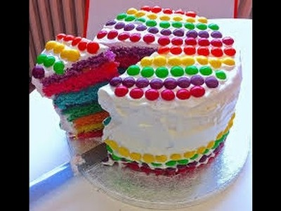 How To Make Skittles Rainbow Cake Step By Step