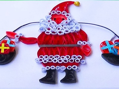 Paper quilling :hand made easy  quilling santa christmas card 2015
