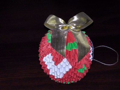 3D origami Christmas bauble with heart tutorial