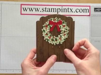 Christmas Door Fold Card with Wreath