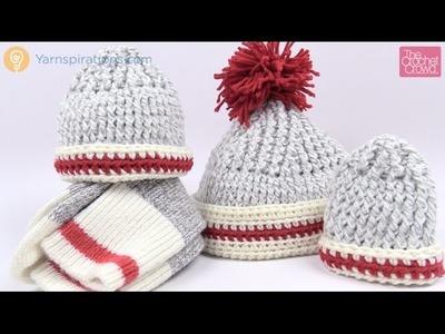 Crochet Sock Inspired Hats - All Sizes Tutorial