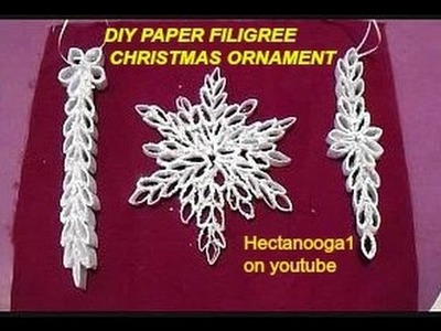 DIY- SNOWFLAKE, PAPER FILIGREE CHRISTMAS ORNAMENT, paper ornament, paper crafts,