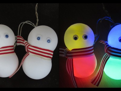DIY snowman lights - learn how to make a snowman decoration from ping pong balls - EzyCraft