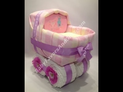 Baby carriage bassinet diaper cake