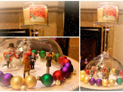 DIY Snow Globe Candle Holder Centerpiece #CraftyChristmas Video #5
