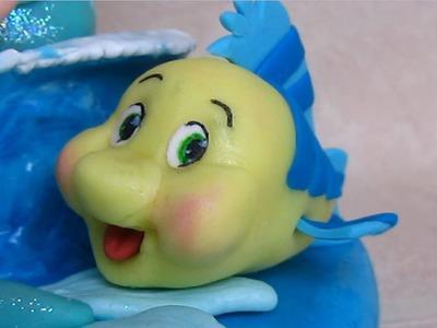 Fondant Flounder, Ariel best friend cake topper - Flounder il pesce di Ariel in pasta di zucchero
