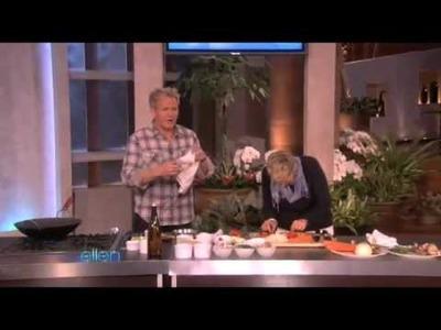 Gordon Ramsay cuts his finger on The Ellen Show
