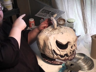 Paper Mache Pumpkins- 9 - More Detail and Stem Foundation