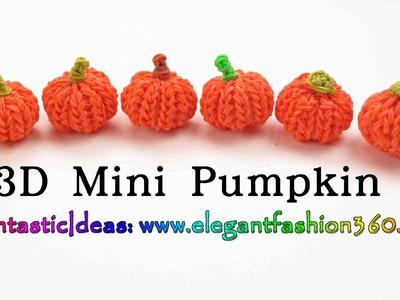 Rainbow Loom Pumpkin 3D mini Charms - Halloween-How to loom bands tutorial