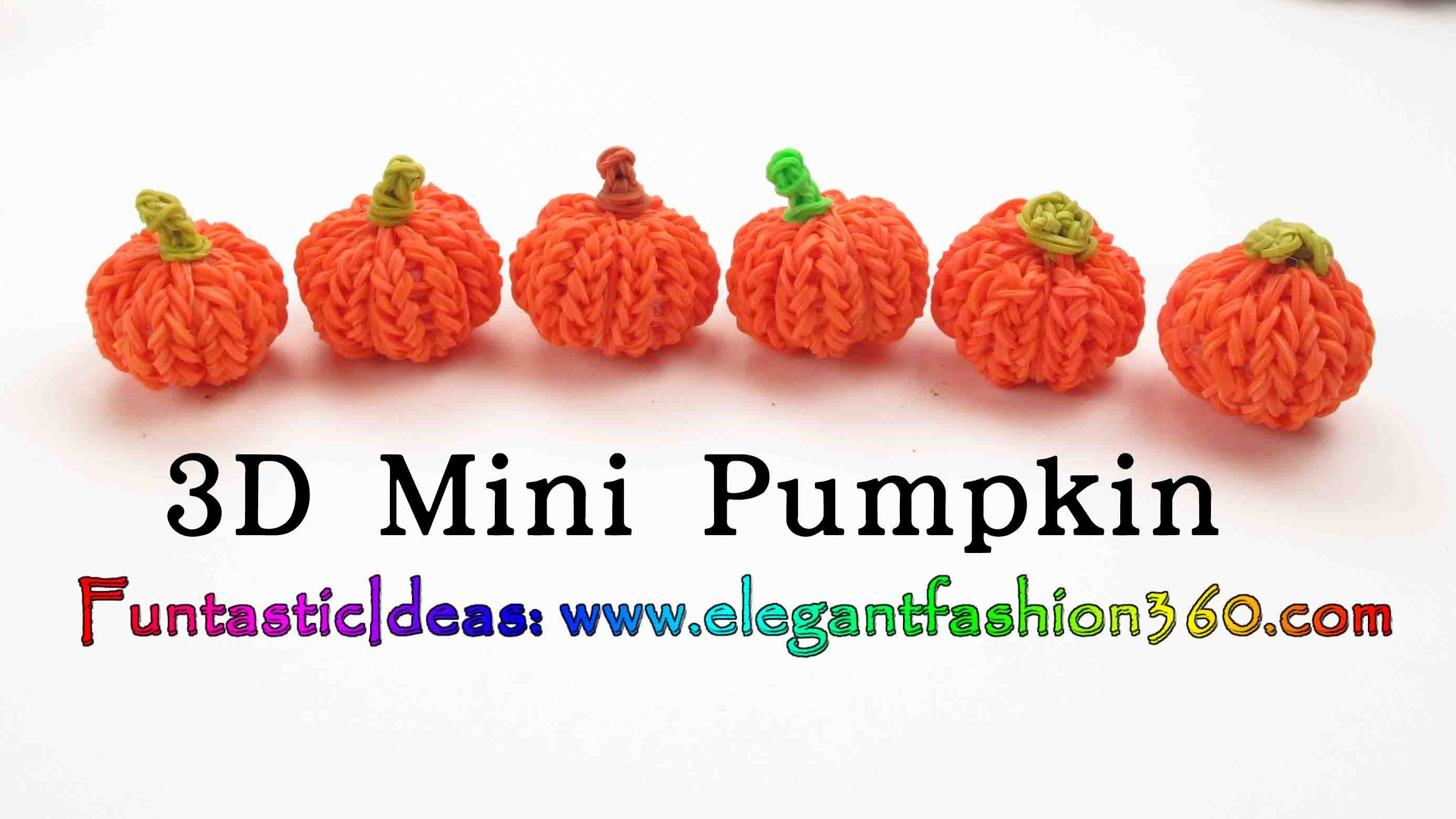 Rainbow Loom Pumpkin 3D mini Charms - Halloween-How to loom bands tutorial