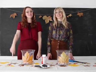 DIY Leaf Candle Centerpiece (Thanksgiving Craft)