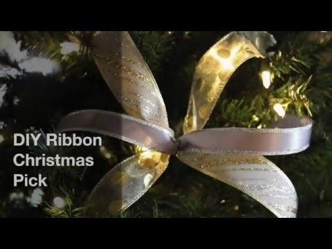 DIY Ribbon Christmas Pick E3FE94A7 B7EF 441E 9C80 AE40B28EA131