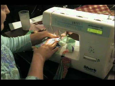 """Homeschool Sewing Class: Making a """"monogrammed"""" letter with fabric and zig zag stitch"""