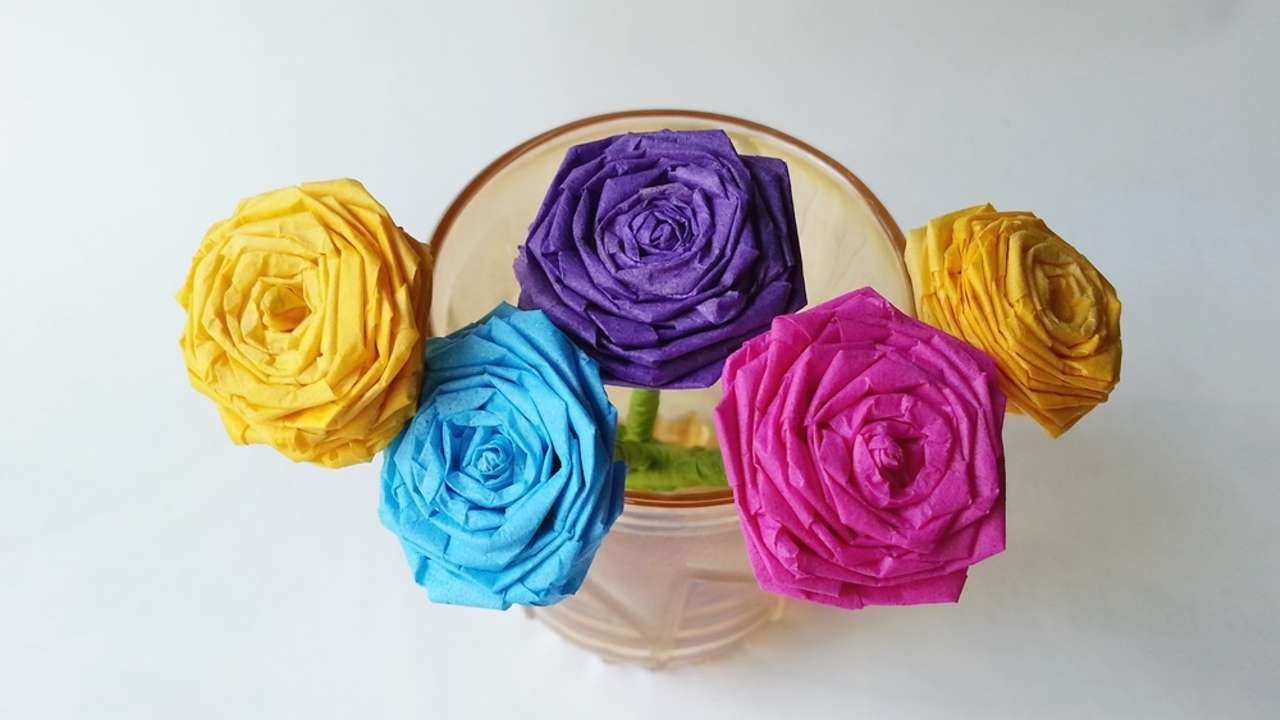 how to make a beautiful tissue paper rose