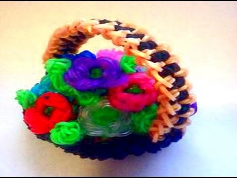 "How to Make DIY (Amigurumi) "" 3D Flower Basket"" from Rainbow Loom. On the Loom."