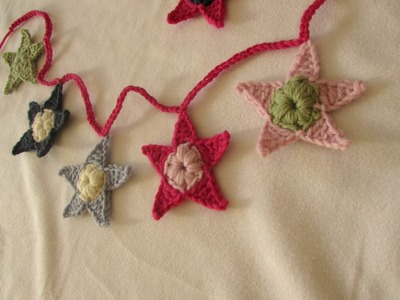 VERY EASY crochet star garland. bunting for beginners