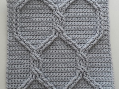Crochet Cables Square 2: Chain Link Cables; part 3, rows 5 - 6