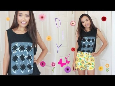 DIY. Cut - out Shirt & Easy Floral Print