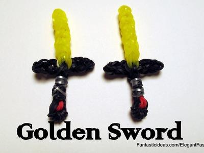 Golden Sword Charm  For Finn - How to Rainbow Loom Design