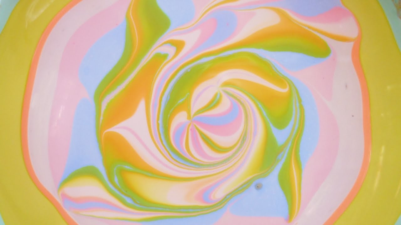Pastel rainbow swirls water marble design