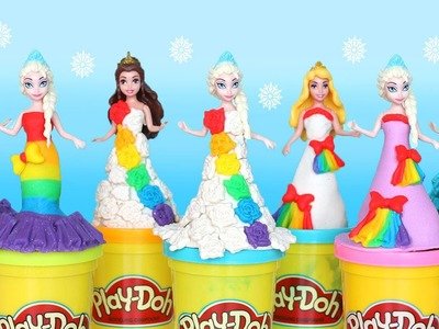 Play-Doh Rainbow Dresses Maker Princess Dress Up Disney Frozen Elsa MagiClip Videos #5