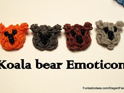 Rainbow Loom Koala Bear Face Emoticon.Emoji charm - How to