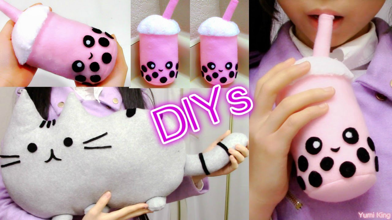 Room Decor.Holiday Gifts DIYs:  DIY Pusheen Cat Pillow.Plush+DIY Bubble Tea Plush+Review