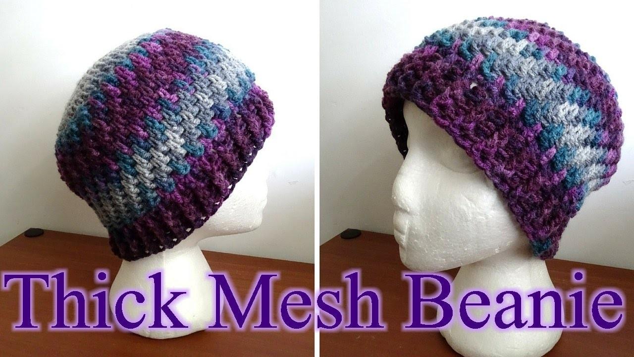 Thick Crochet Mesh Beanie - Left Handed Crochet Tutorial