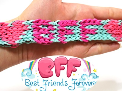 BFF Rainbow Loom Bracelet for your BEST FRIENDS FOREVER with Four Forks no Loom DIY