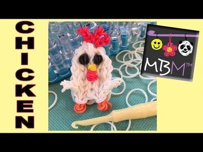 Chicken Charm. Mini Figurine Rainbow Loom Band Tutorial