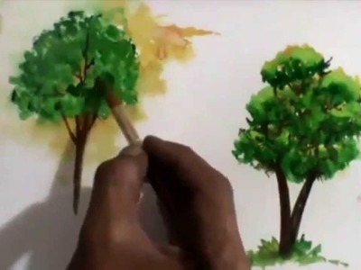 How to create a tree with tissue paper watercolour painting