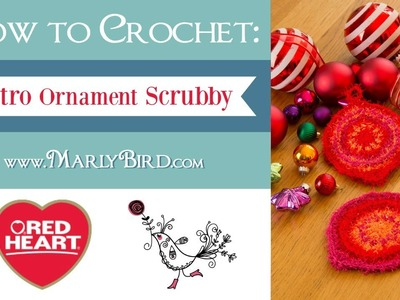 Learn How to Crochet the Retro Ornament Scrubby in Red Heart Scrubby Yarn