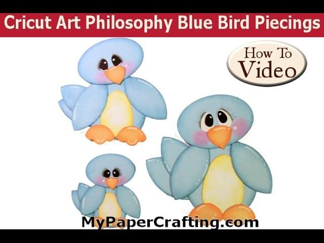 MyPaperCrafting.com Cricut Art Philosophy Blue Bird Paper Piecing Assembly