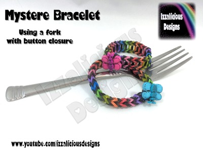 Rainbow Loom Mystere Bracelet using a fork with a button closure - Loomless
