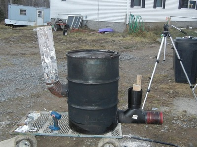 """Building 6"""" stove pipe rocket stove heater 55 gallon drum version part 1 of 2"""