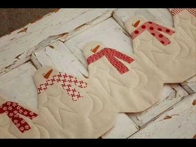 Christmas Quilt  -  Snowman Table Runner Pattern - Presentation
