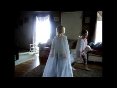 D.I.Y. How to make a Disney Elsa cape out of a sheer curtain and a cardigan