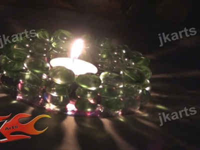 DIY Candle Holder from Glass Marbles and DVD | How to make | JK Arts  070