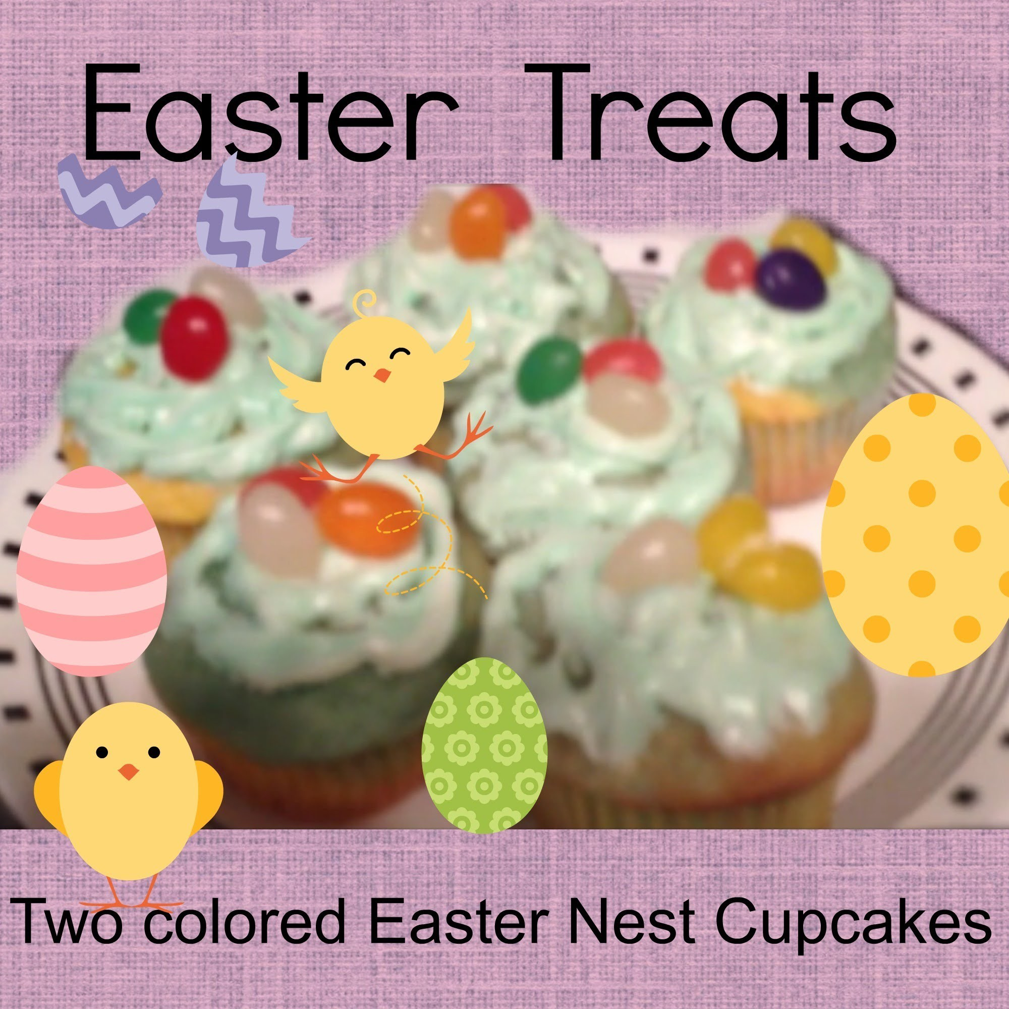 Easter Nest Cupcakes (Two colors in one) (DIY)