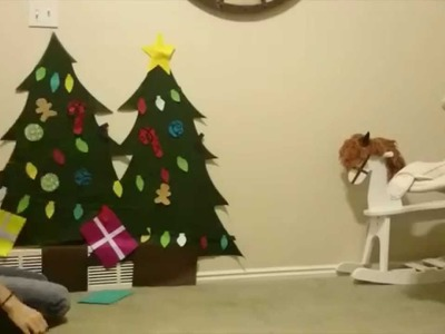Felt Christmas Tree Assembly - how to hang to wall, and stick ornaments and lights to tree.
