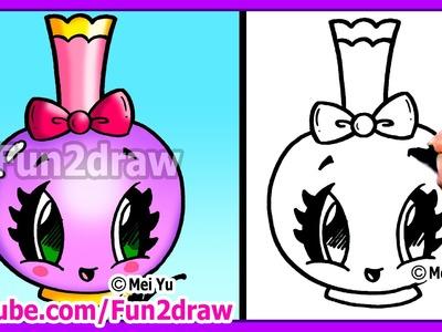 How to Draw Easy Cartoons - Perfume Bottle Tutorial Cute + Stylish Fun2draw Kawaii