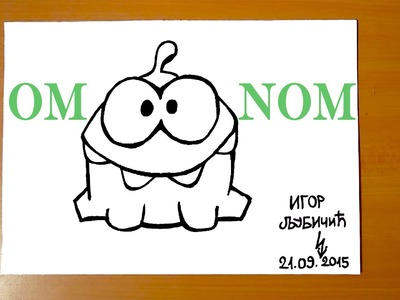 How to draw OM NOM from Cut the Rope Easy, draw easy stuff but cool, SPEED ART