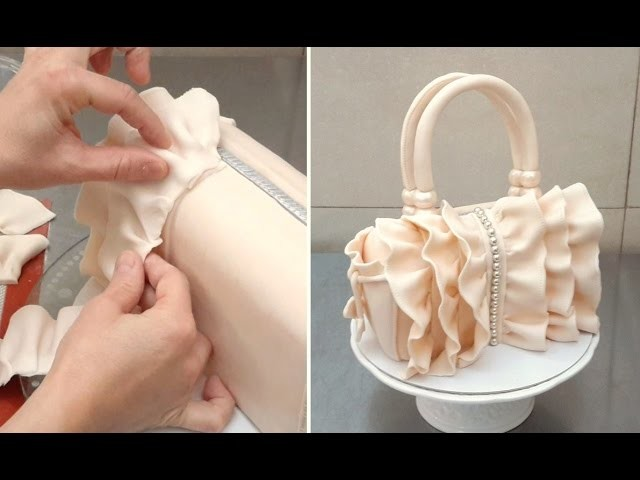 How To Make a Ruffle Handbag Cake  by CakesStepbyStep