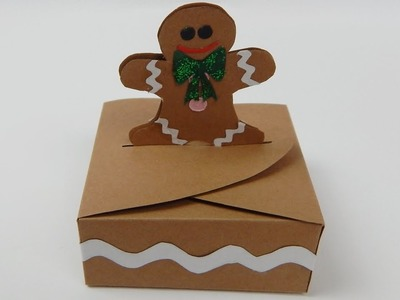How to make a small gingerbread man christmas gift box DIY (tutorial + free pattern)