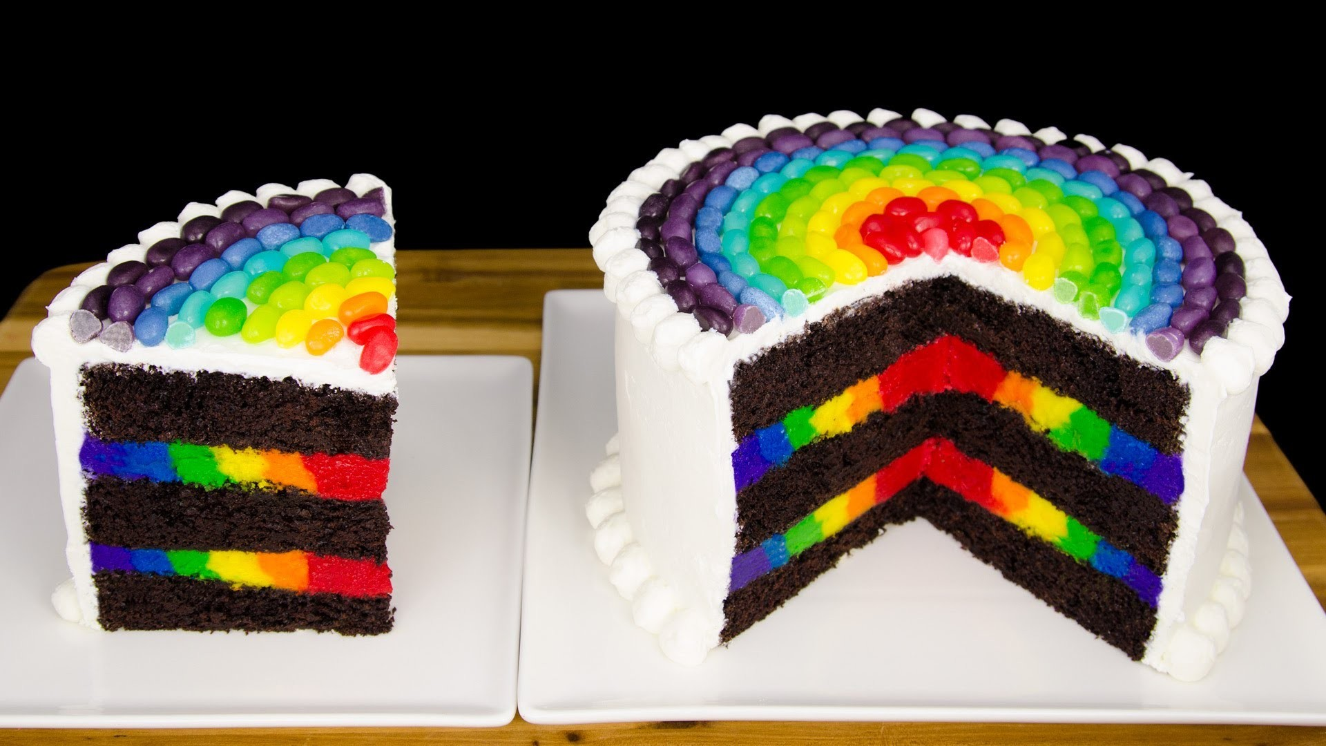 Inside Out Rainbow Cake with Rainbow Jelly Beans from Cookies Cupcakes and Cardio