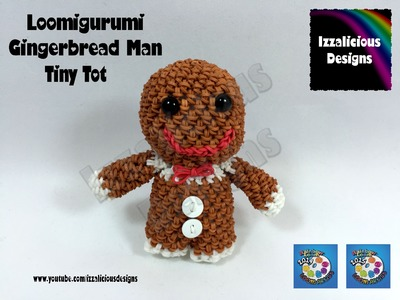 Loomigurumi Gingerbread Man Tiny Tot Christmas Figure - amigurumi w. Rainbow Loom Bands