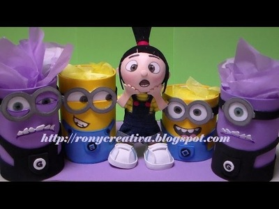 MINIONS DULCERO-PORTALAPIZ. IDEA ORIGINAL DE RONYCREATIVA - DESPICABLE ME PARTY IDEAS DIY