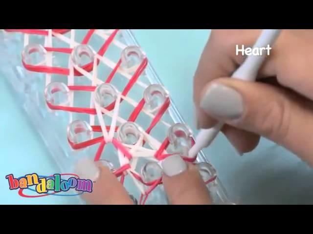 RainBow Loom Ntherlands How To Make Heart Bracelet - Design Rubber Band Heart Bracelets on Bandaloom